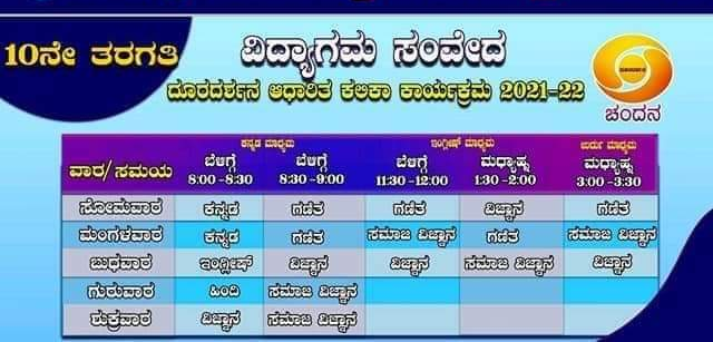 """10th class """"Vidyagama Sanveda"""" lessons broadcast on Chandana channel today"""