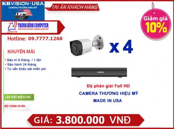 bo 4 camera thuong hieu my kb 1001c Bộ 4 kênh Kbvision thương hiệu Mỹ KB 1001C