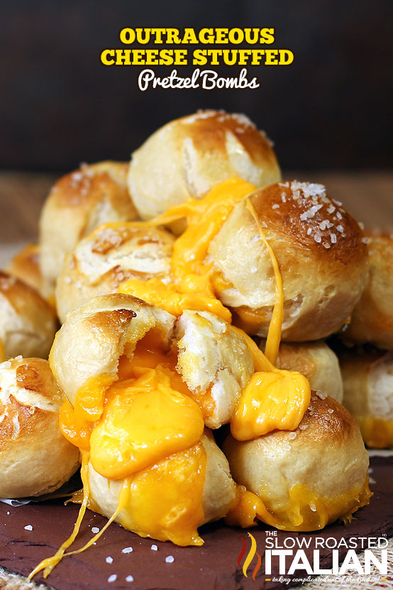 Title Text (pictured in a pile): Outrageous Cheese Stuffed Pretzel Bombs