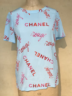 "Chanel Boutique Silk ""Rouge"" Blue Blouse"