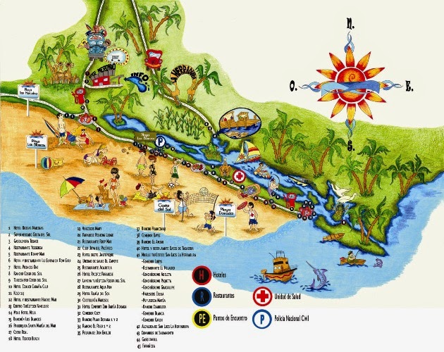 Costa del Sol El Salvador El Salvador Tips – Tourist Attractions Map In El Salvador