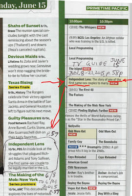 Gay marriage error in TV Guide June 15, 2015, p. 57-58