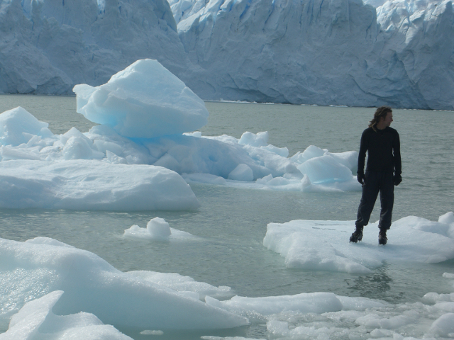 Person Standing on an Iceberg Perito Moreno Glacier Patagonia