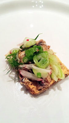 Zakuski at DaNet Russian Pop Up: Buterbrodi with sprats, herring butter, cucumber, radish, and green garlic cheese spread