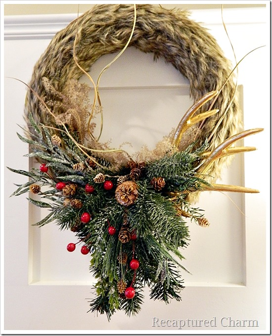 faux fur antler wreath 19
