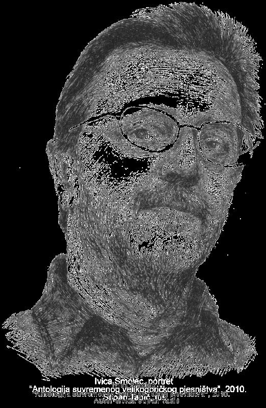 Ivica Smolec, portret iz 'Antologije suvremenog velikogoričkog pjesništva', autor crteža Stipan Tadić.