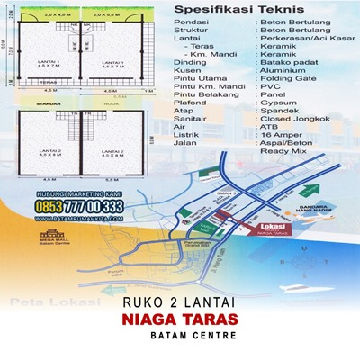 Denah Ruko Niaga Taras - Lokasi Spesifikasi & Bangunan