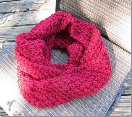 Double Moss Stitch Cowl (knitted flat, free pattern)