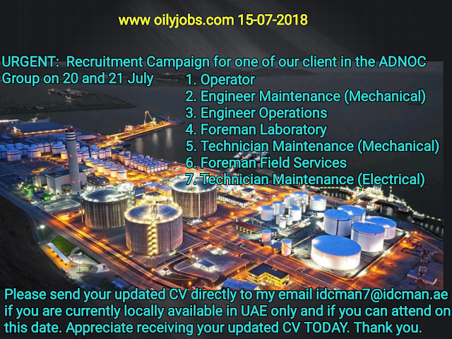 Oil and Gas Jobs: Urgent Requirement Compaign for ADNOC Group