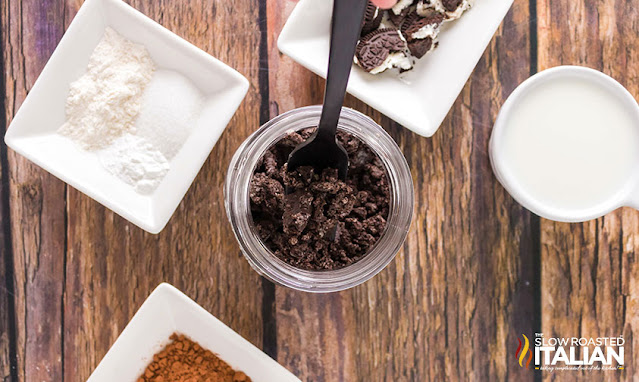 Oreos crushed with ingredients