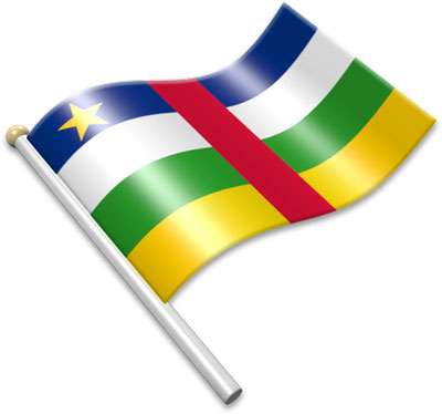 The Central African flag on a flagpole clipart image