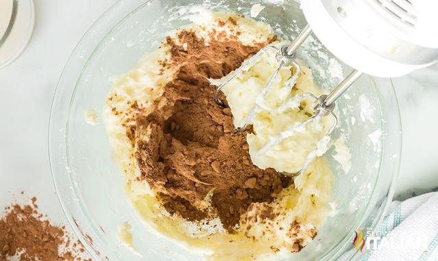 Beating chocolate buttercream ingredients