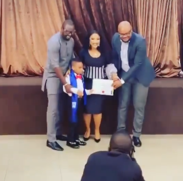 ''Having a man stand as a father to my son has been one of my secret prayers''- Tonto Dikeh writes as her partner accompanies her to her son's graduation (video)