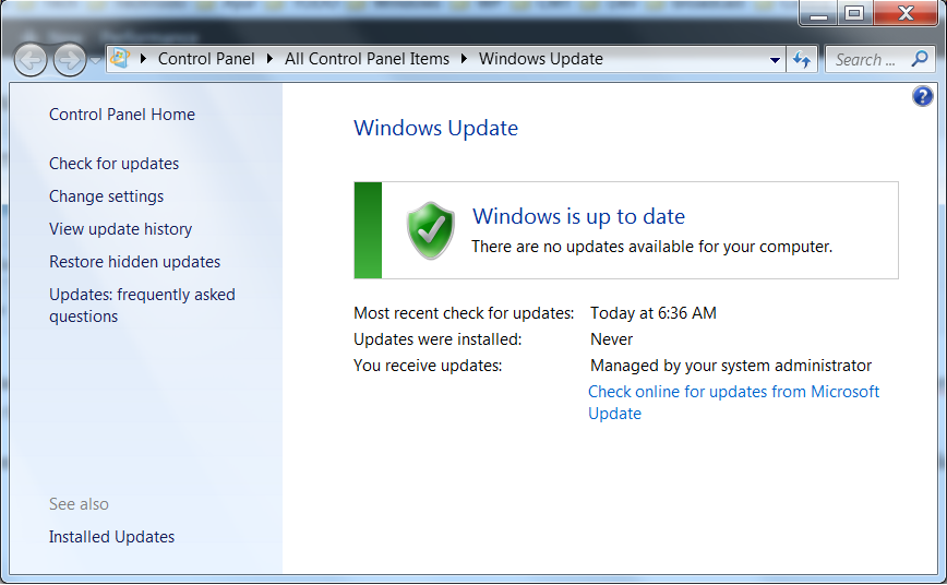 Windows update configuration window