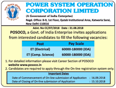 POSOCO ET Advertisement 2018 www.indgovtjobs.in