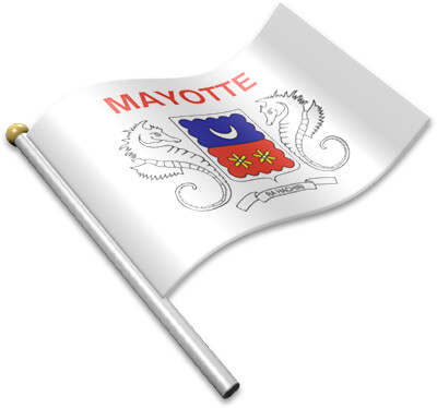 The Mahoran flag on a flagpole clipart image