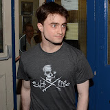 WWW.ENTSIMAGES.COM -      Daniel Radcliffe  leaving  Noel Coward Theatre in his last week performance  The cripple of  inishmaan August 27th 2013                                          Photo Mobis Photos/OIC 0203 174 1069