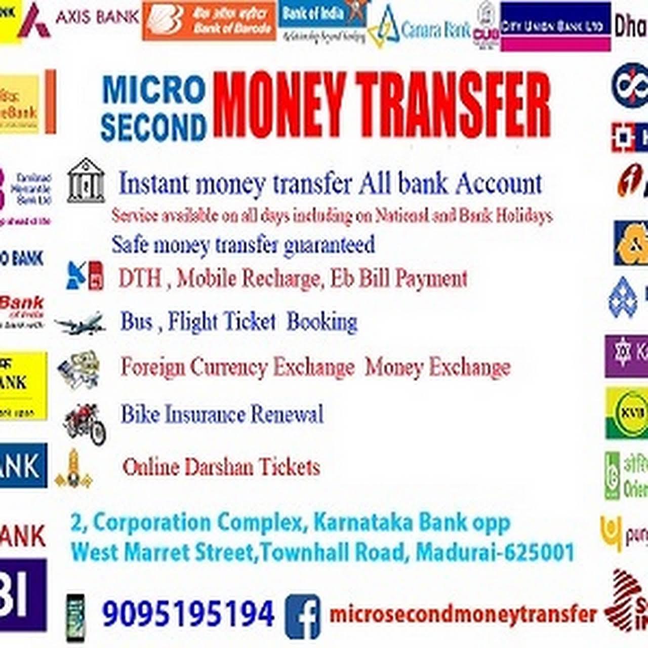 Micro Second Money Transfer - Money Transfer Service in Madurai