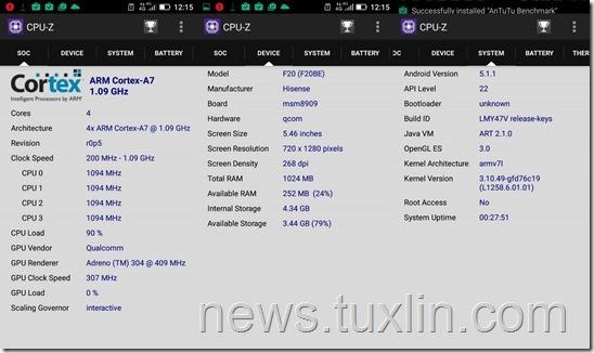 Benchmark Hisense F20 CPU-Z