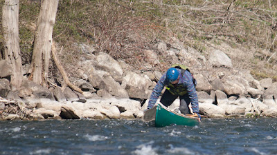 Bob showing his rapid descent from poling to paddling position.