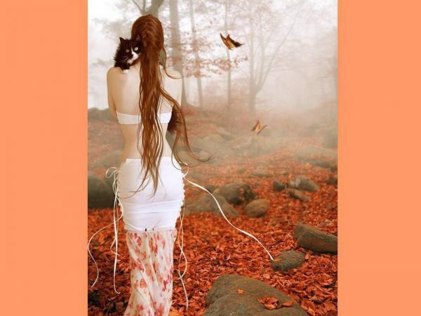 Girl With Cat In Autumn Garden, Spirit Companion 4
