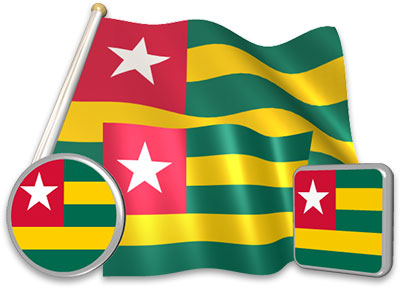 Togolese flag animated gif collection