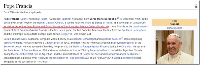 WIkipedia Franziskus de facto Prinz Malteser