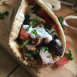 Mediterranean Steak Pita Wraps with Mint Yogurt Sauce.