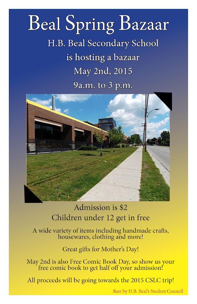 HB Beal Spring Bazaar – May 2, 9am – 3pm