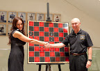 2009 US Women's Champion Anna Zatonskih and Chess Club and Scholastic Center of Saint Louis founder Rex Sinquefield shake on a draw. Photo Betsy Dynako