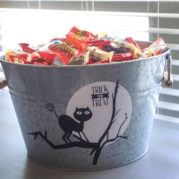 Decorate a bucket for Halloween