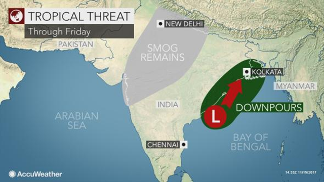 Weather prediction for India during the week of 13 November 2017. Graphic: AccuWeather