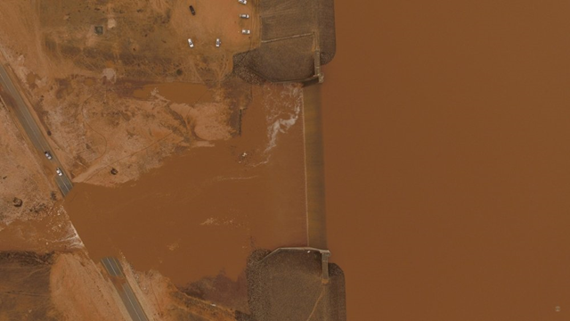 Aerial view of flooding in Oman after Tropical Cyclone Mekunu made landfall on 26 May 2018. Photo: Times of Oman