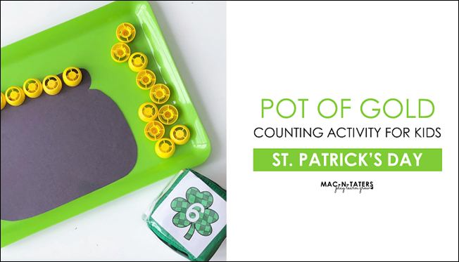 St. Patrick's Day Counting Activity for Kids Using Pouch Cap Lids