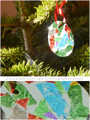 Washi tape Christmas tree ornaments