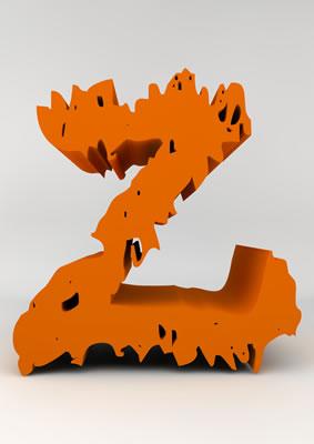 lettre 3D chiffron de craie orange - Z - images libres de droit