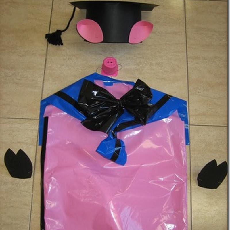 disfraz casero de CERDITO con bolsa de basura
