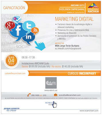 #Quito tendrá su capacitación en #Marketing #Digital #Estratégico el próximo martes 4 Agostogracias a @amchamec y @eduticecuadorcedem@ecamcham.com