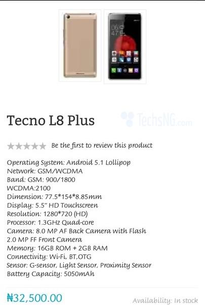 Tecno just Produced new Version of Tecno L8 :Tecno L8 plus