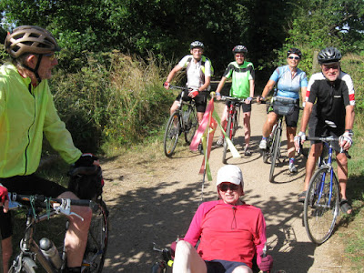 6 cyclists on disused railway