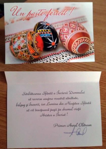 Felicitare de Paşti de la Aurel Olărean, primarul municipiului Rădăuţi