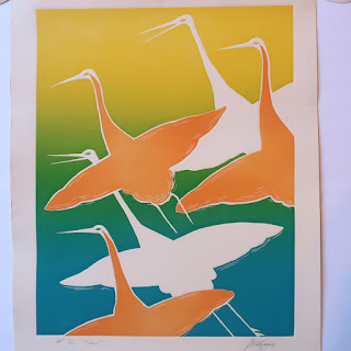 Signed Embossed Engraving 'Cranes'