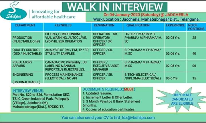 Shilpa Medicare Ltd - Walk-In Interview for Multiple Positions (86 Positions) in Production / QC / Regulatory Affairs / Engineering on 4th Jan' 2020
