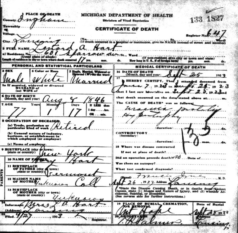HART_Leonard A_death cert_25 Sep 1923_LansingInghamMichigan