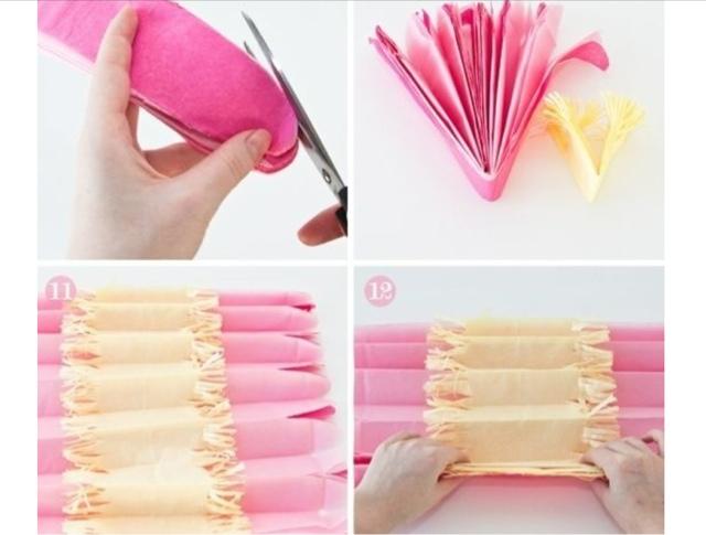 Como hacer pompones de papel de seda la c moda encantada - Como se hacen los pompones ...