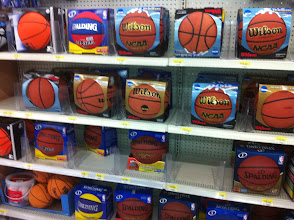 Photo: I headed over to Walmart to check out their selection of sports equipment that I could include in our donation. Playing basketball is a great way for kids to get some exercise and stay in shape!