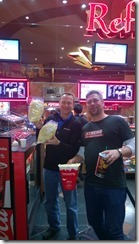Dan Wahlin and Glenn Henriksen holding popcorn