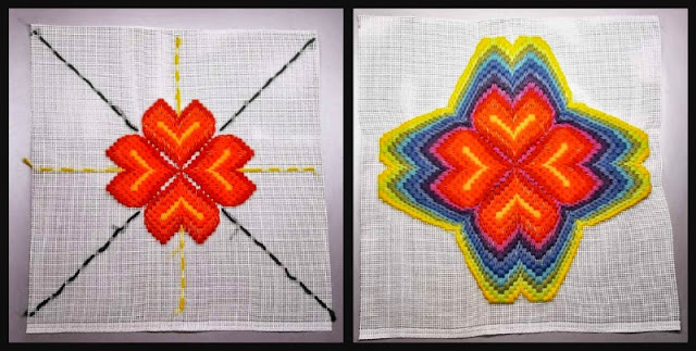 4-way bargello in progress, first in from baseline then out