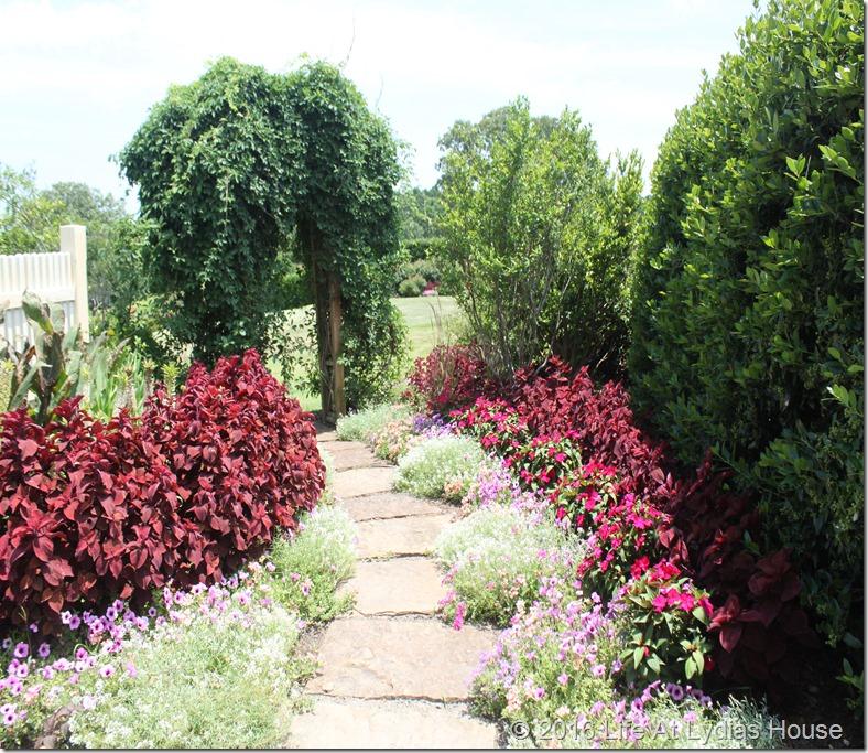 flower lined garden path