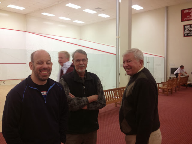 2013 RI Open.  Cory Diamond, Don Heitzmann, and Hugh Richardson (all from RI Squash) are all smiles at the start of the tourney.